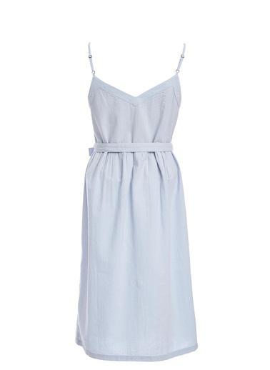 DeFacto Askılı Düğme Detaylı Kemerli Dokuma Elbise Mavi
